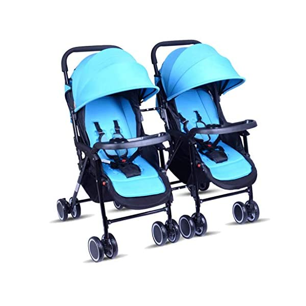 Meen Twin Baby Stroller, Portable and Easy to Fold Can Sit Reclining Detachable Ultra Light Shock Baby Umbrella (Color : Blue) Meen * EASY TO FOLD: It can be used in one-button car collection, easy to handle all kinds of occasions, save space, easy to carry, easy and labor-saving * SAFETY SYSTEM: Baby stroller adopts 5-point safety belt, high quality design is safer, and 5-point structure is safer * ADJUSTABLE BACKREST - The stroller backrest can be adjusted at any angle, and the pedal can be adjusted according to the baby's needs, giving the baby a more comfortable experience 1