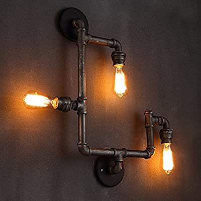 ONEPRE Vintage Industrial Steampunk Wall Light Fixtures, 3 Lights Pipe Wall Lamp Sconce for D¡§?cor, Living Room, Dining Room, Foyer, Bedroom, Bar, Club, Restaurant, kitchen island, hotel room, Hallway, Office, Meeting room