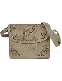 6603 Trachtentasche Handtasche Schultertasche Tasche mit Edelweiss und Fransen