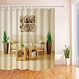 CDHBH Sofa im Wohnzimmer mit Holzboden Polyester-Duschvorhang Schimmelresistent-Badezimmer Dekoration Bad Vorhänge Haken Enthalten 180,3x 180,3cm