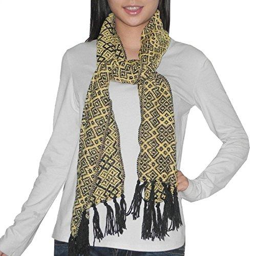 Femme Fringe (hommes / femmes Confortable et Super-Soft motif graphique Foulard en tricot léger Winter Wrap / Avec Fringe - Beige & Noir)