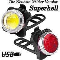LED Fahrradbeleuchtung Set, LENDOO LED Fahrradlicht mit USB Wiederaufladbare, LED Frontlichter Frontlich und Rücklicht, mit 650 mAh Lithium-Batterie Ideal für Mountainbikes,Straßenrädern,Camping