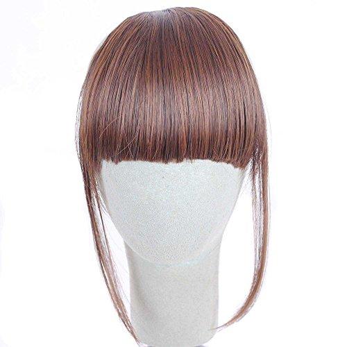Jaysis Damenperücke, natürliches Hellbraun, glattes Haar, mittellang Haar, für Mädchen, zum Anklipsen, Pony, Haarteil Einheitsgröße B