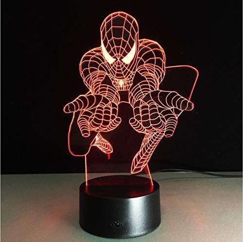 Beste Kinder Geschenk 3D Lampe Spiderman Nachtlicht Marvel Film Fans Superheld Lampen Usb Farbwechsel Schreibtisch Dekor Ping (Ping Film)