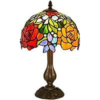 ZYCkeji Zart Europäische Pastorale Glasmalerei Rose Tischlampe Schlafzimmer Bedside Hochzeit rot dekorative Lichter... preisvergleich bei billige-tabletten.eu