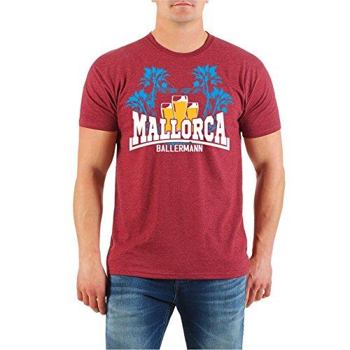 Männer und Herren T-Shirt MALLORCA Ballermann Malle Größe S - 8XL weinrot meliert