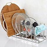 Multifunktions Edelstahl verstellbar 6er Pfanne Topf Organizer Rack Küche Schrank Topf Deckel Organizer Storage Rack, edelstahl, 6-Slot