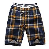 Yuxin Homme Shorts à Carreaux - Mode Loose Fit Pantalon Court avec Cordon Taille Moyenne Été Casual Court de Sport Pantalon