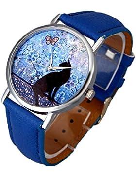 Vovotrade Damen Uhren Katzen Muster Leder Band analoge Quarz Mode Armbanduhr(Blau)