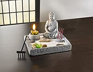deko set zen garten buddha kerze rechen relax. Black Bedroom Furniture Sets. Home Design Ideas
