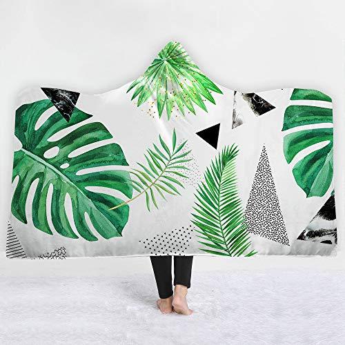 WANMT Wohn Kuscheldecken Sherpa Mit Kapuze Decke nach Hause Decke Kinder Decke Dicke Decke tropischen Pflanzen, 150 * 200 cm -