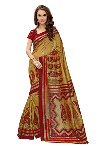 Glory Sarees Cotton Silk Saree (Gsfoil3_Red And Brown)