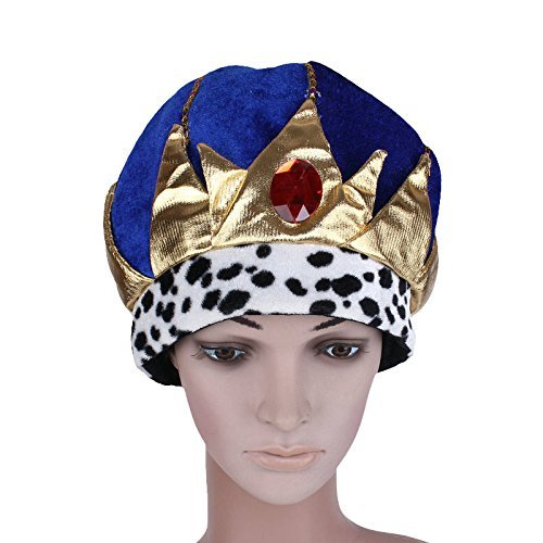 thematys Blaue Königskrone König-Krone Mütze aus Stoff - Kostüm für Erwachsene -...