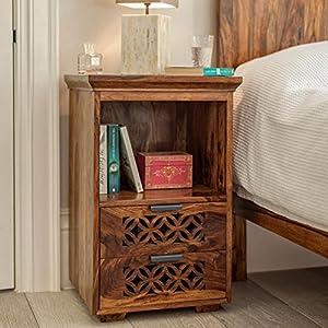 Driftingwood Sheesham Wood Bed Side Cabinet (Natural Honey Finish)