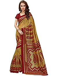 Glory Sarees Women's Cotton Silk Saree With Blouse Piece (Gsfoil3_Red)