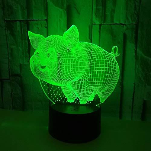d Nachtlichter Illusion Tischlampe 7 Farben Ändern Schlaf Beleuchtung Mit Smart Touch Button Kreative Dekoration Ideal Kunst Und Handwerk (Schwein) ()