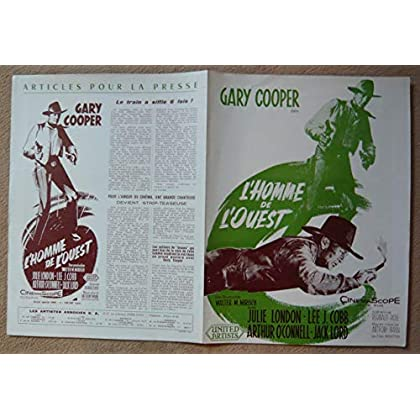 Dossier de presse de L'Homme de l'Ouest (1958) – 31x47 cm Film de Anthony Mann avec Gary Cooper, Julie London – Photos N&B + résumé du scénario – Bon état.