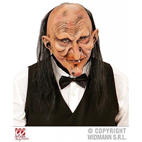 Maske / Latexmaske / Halloweenmaske Hexe oder Buttler des Grauens mit Haar