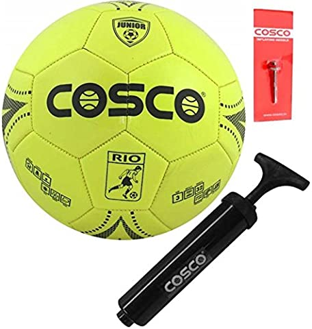 DealBindaas Cosco Rio PVC Football with Hand Pump and Needle, Size 3 for Kids,  Multicolour