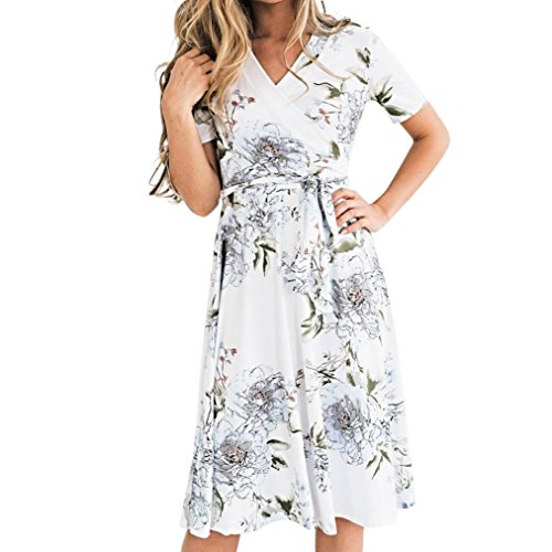 Lolittas Dress Summer Floral Dresses for Women Ladies,Vintage Beach Skater Tunic Wedding Prom Cocktail Evening Ruffle Peplum Swing Bodycon A-line Fishtail