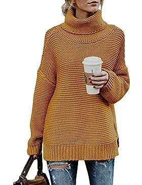 ORANDESIGNE Mujer Cuello Alto Jersey Otoño Invierno Long Pullover Suéter Punto Elegante Clásico Manga Larga Jumper...