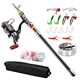 FishOaky Telescopic Fishing Rod Set, 2.1M Carbon Fiber Spinning Fishing Pole and Reel