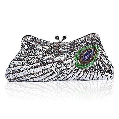 Sacchetti di cerimonia nuziale del pavone di cerimonia nuziale del sacchetto di cerimonia nuziale del sacchetto di cerimonia nuziale del sacchetto di spalla Silver