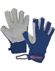 Alpidex Guantes para vía ferrata BLACK BOA 2.0 unisex de cuero auténtico, Tamaño:L;Color:Azul bravío