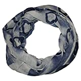 ManuMar, foulard da avvolgere, da donna, con motivo di cuori, accessorio perfetto per l'estate, il regalo ideale per le donne grigio/blu taglia unica