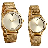 JewelryWe 2pcs Partner-Armbanduhr Paar Uhren Analog Quarz 30M Wasserdichte Gold Armbanduhr mit Edelstahl Milanese Mesh Armband, Herren Damen