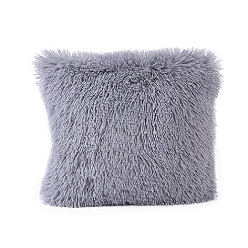 Viahwyt Square Smooth Touch Fluffy Solid Colour Plush Cushion Cover Throw Pillow Cases Room Car Sofa Coffe Shop Home Decor (Gray)