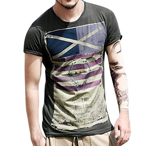 Mode Persönlichkeit Männer Herren Casual Flag Schlank Kurzarm Top Bluse,XXL,Schwarz (Hello Kitty Mustang)