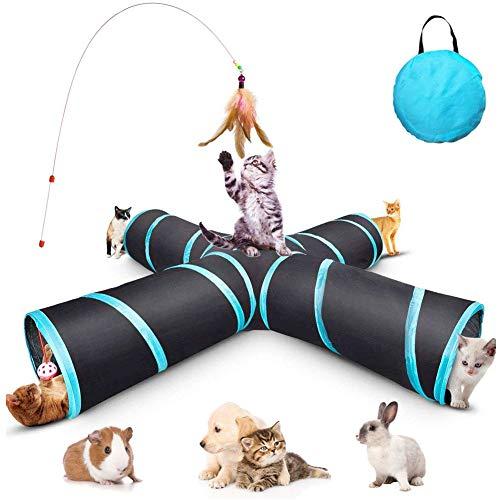 GXL Cat Tunnel Spielzeug, Upgrade Faltbar 4 Way Pet Play Tunnel Tube Aufbewahrungstasche & Katze Spielzeug Federstab, große Katzen, Hunde, Kaninchen, Meerschweinchen, Indoor / Outdoor