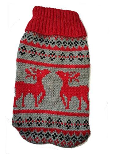 Naturhaus Hildegard Chihuahua Pullover   Hochwertige Hundebekleidung   süßer Norweger Winterpulli für Kleine Hunde (rot grau)