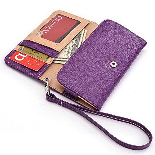 Kroo Pochette Téléphone universel Femme Portefeuille en cuir PU avec dragonne compatible avec Lava Iris 504Q +/carburant 60 Multicolore - Magenta and Black Violet - violet