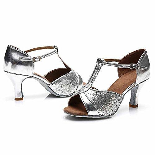 HROYL Damen Tanzschuhe/Latin Dance Schuhe Satin Ballsaal Modell-D7-259 7CM Silber