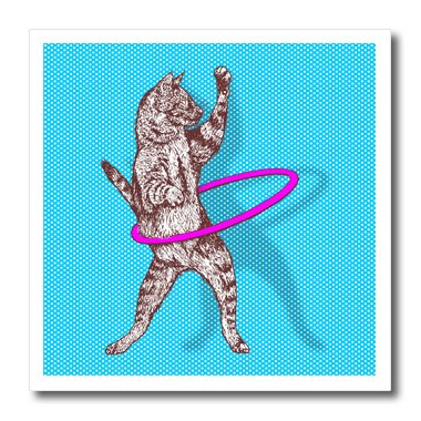 3dRose ht_223279_1 Funky Cat Playing with Pink Hula Hoop Over Blue Polka Dots Iron on Heat Transfer for White Material, 8