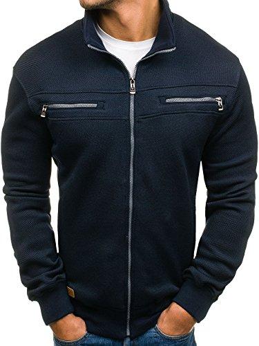 BOLF Herren Sweatshirt Sweatjacke Stehkragen Langarmshirt Pullover Zip TC STAR 1905 Dunkelblau M [4D4]
