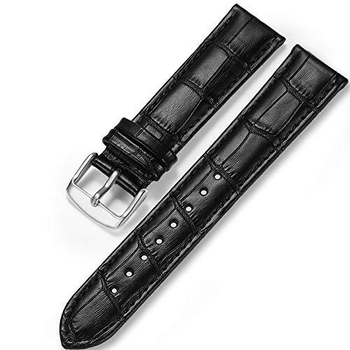 iStrap Uhrenarmbänder Band 12/13/14/15/16/17mm 18mm 19mm 20mm 21mm 22mm 24mm Guine Lederarmband mit Krokodilmuster - Schwarz Braun Gold (19 Mm Echt Leder Uhrenarmband)