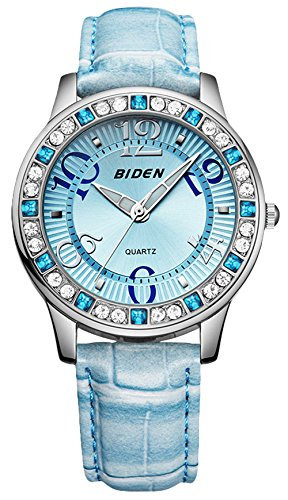 Damen Leder Uhr, Frauen 3Bars Wasserdicht Analog Quarz Uhren mit Blau Lederband, Lady Fashion Kleid Armbanduhr mit Bling Kristall für Frauen teenages Mädchen Geburtstag Geschenk ueoto