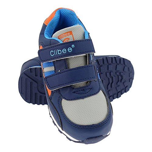 GALLUX - Mädchen Jungen Sneaker Sportschuhe bunte Freizeitschuhe Blau-Orange