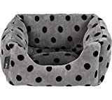 Petface Grey and Black Dots Square Puppy/Dog Bed - Small