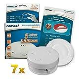 7X Detector de Humo Nemaxx Mini-FL2 Mini Detector de Fuego y Humo Detector con Batería de Litio de Acuerdo con la Norma DIN EN 14604 + Nemaxx Pad de Fijación Adhesiva Quickfix NX1
