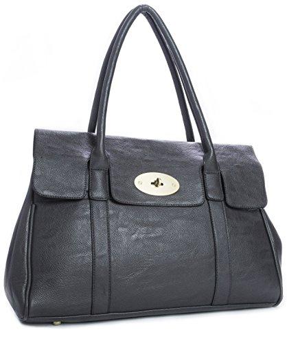 Big Handbag Shop Womens Faux Leather Designer Boutique Turnlock Shoulder Bag 51206YlGl3L  Deal Bags 51206YlGl3L