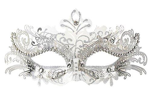 CooBoo Masquerade Mask Lasercut Metallmaske mit Strass für Halloween Weihnachten Abend Prom (Silber) (Silber Venezianische Lange Nase Maske)