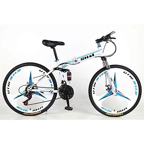 F-JWZS Unisex Mountainbike, 21 Geschwindigkeit Stahlrahmen, 26 Zoll 3-speichen-räder Doppelt Gefedertes Faltrad, für Schüler, Kinder, Erwachsene Pendlerstadt,Blue