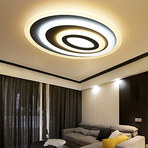 YAMEI Moderne Stil Led Deckenleuchte Dimmbar Fernbedienung, Kreativ Oval-Design-Stufenlos Dimmbar 3000K-6500K Deckenlampe Acryl Lampenschirm Küche Lampe Studie
