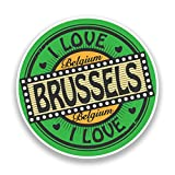 2x I LOVE Brüssel Belgien Vinyl Aufkleber Reise Gepäck # 7311 - 10cm/100mm Wide
