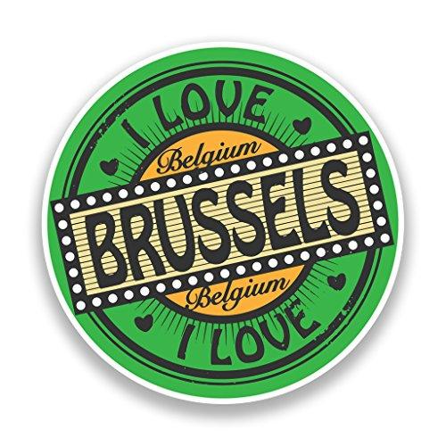 2x Pegatinas de vinilo de I Love Bruselas Bélgica equipaje de viaje # 7311