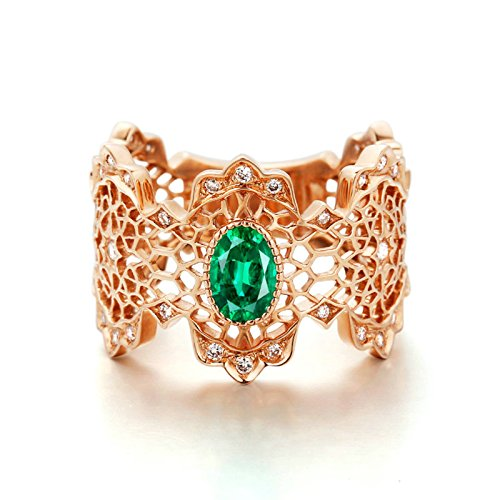 Aooaz 18K Gold Ringe für Damen Diamant & Smaragd Grün 0.52ct Tropfenschliff Ringe Gold Gr.61...
